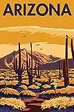 Arizona, Desert Scene with Cactus (9x12 Art Print, Wall Decor Travel Poster)