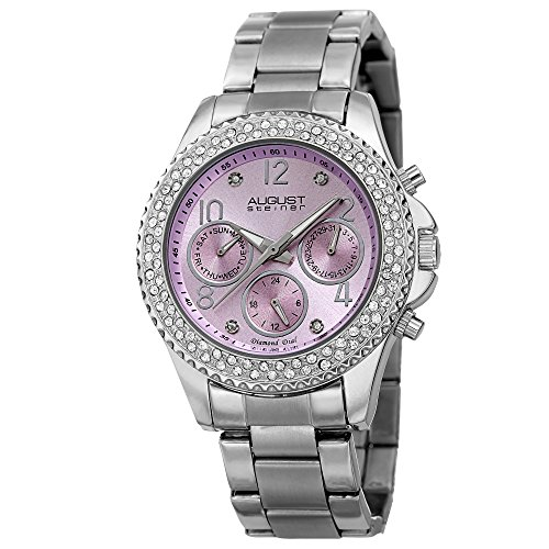 August Steiner Women's Multifunction Watch - 3 Subdials Day, Date and GMT On Colored Dial Crystal...