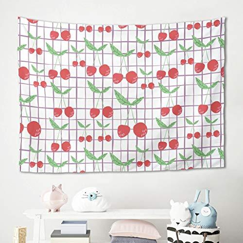 Gamoii Kirsch - Tapiz para colgar en la pared, diseño a cuadros, color blanco, 100 x 150 cm