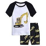 Jimmackey 2Pcs Bambino Ragazzo T-Shirt Cartoon Treno Camion Escavatore Camicia Cime + Stampato Pantaloncini Neonato Abiti Set (Bianco, 6 Anni)