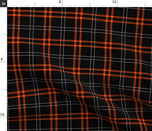 Spoonflower Fabric - Tartan Night Plaid Orange Black Gothic Printed on Petal Signature Cotton Fabric by The Yard - Sewing Quilting Apparel Crafts Decor