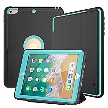 DUNNO iPad 6th 5th Generation Cases  iPad 9.7 Inch 2018/2017 Model  Heavy Duty Full Protection Smart Case[Auto Sleep/Wake]with Detachable FrontCover/Stand for iPad 9.7 2018/2017 Black+Light Blue