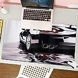 Alfombrilla para ratón (80x30 cm). Cars Automóvil Negro Moderno con Reflejo de Agua Prestige Fast Engine Performance LifestyleBase Antideslizante. Especial para Gamer