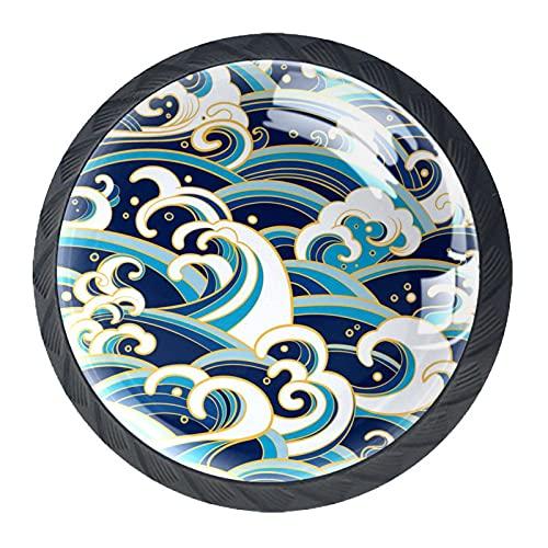 4 pomos redondos para muebles, cajones y aparadores, tiradores para el hogar, cocina, diseño de olas orientales, color azul y blanco