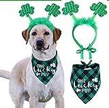 St Patricks Day Dog Costume, Green Shamrock Headband and Buffalo Plaid Pet Bandana
