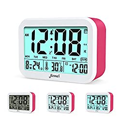 jiemei Digital Alarm Clock, Talking Alarm Clocks for Kids and Adults, Battery Operated, 4.5'' Display, Smart Backlight, 3 Alarms, 7 Rings, Good Gift Choice (Pink)