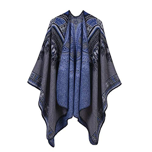 Waniii Vintage etnische franje gebreide mantel Geometrische Poncho kwastjes Cape vest trui sjaal Vrouw jas