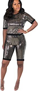 Vamvie Women Sexy 2 Piece Sequin Club Wear Outfits Sparkle Ribbed Stripped Short Pullover and Pants Set