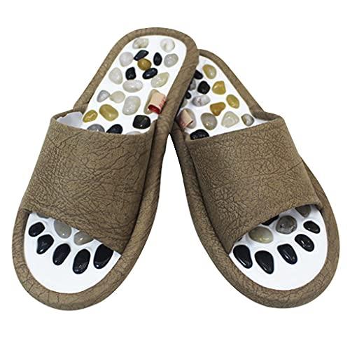 QUNHU Slipper, Naturstein Tiefgewebe Acupressur Fußmassage Hausschuhe Schuhe Sandalen Reflexzonenmassagegerät Relive Arthritis Schmerz (Color : Brown 1, Size : EU43-44)