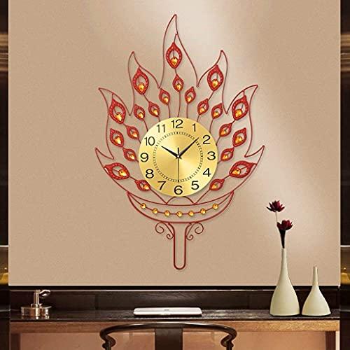 Reloj De Pared De Metal Creativo Silencioso Dormitorio Sala De Estar Golpe Libre Barrido Segundo Movimiento Reloj De Cuarzo De Diamante - Antorcha Roja