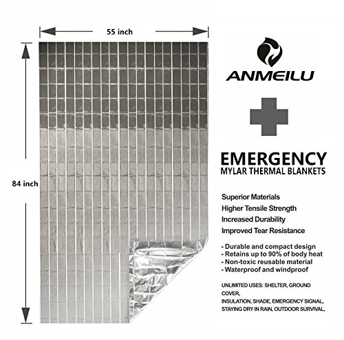 ANMEILU Emergency Mylar Thermal Blankets -Space Blanket Survival kit Camping Blanket (4-Pack). Perfect for Outdoors… 4