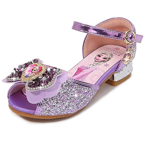 AIYIMEI Girls Princess Shoes Elsa Shoes with Heel Glitter Shoes Kids Crystal Pumps Girls Costume Accessories Shoes Wedding Shoes Purple Blue Pink Golden Silver in Size 23-37 Purple Size: 12 UK Child