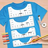 6 Pcs T-Shirt Ruler Guide Set, T-Shirt Template Guide and Measurement Tools with Sewing Tape and Marking Pencil, Tshirt Ruler for Vinyl Alignment Cuts for Adult, Youth, Toddler and Infant (White)