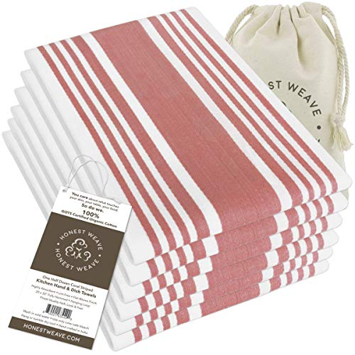 HONEST WEAVE GOTS Certified Organic Cotton Kitchen Hand and Dish Towel Sets - Oversized 20x20 inches, Fully Hemmed, in Designer Colors, 6-Pack, Coral Stripe