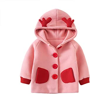 Xifamniy Infant Girls Long Sleeve Coat Solid Color Cute Embroidery Antlers Hooded Jacket