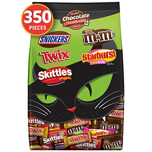 M&M'S, SNICKERS, TWIX, STARBURST & SKITTLES Halloween Chocolate Candy Fun Size & Minis Variety Mix 127.78-Ounce 350-Piece Bag