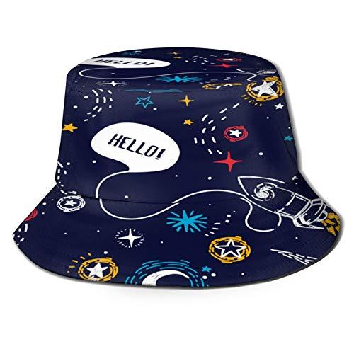 PUIO Sombrero de Pesca,Póster Viaje Espacio Boceto Estrellas Cohete,Senderismo para Hombres y Mujeres al Aire Libre Sombrero de Cubo Sombrero para el Sol