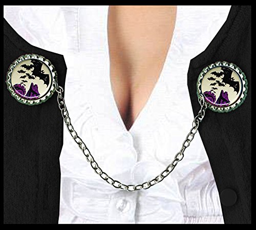 Bats flying our of purple gothic Castle Rockabilly Halloween Sweater Guard Clip