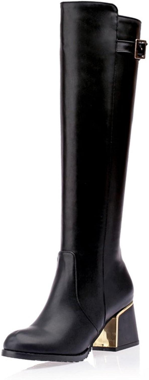 Fashion Heel Womens Mid Heel Round Toe Knee High Chunky Heel Knee High Boot with Buckle Black