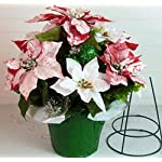Deluxe Red & White Poinsettia Cemetery Vase Arrangement