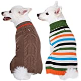 classic dog sweater with polka dots, or stripes, or cable design