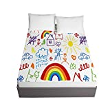 Chickwin Cartoons Printing Fitted Sheets for Twin Full Queen King Bed, Child Bedding Sheets Deep Pocket 30cm - Soft Microfibre Shrinkage Fade Resistant Easy Care (Rainbow,90x200x30cm)