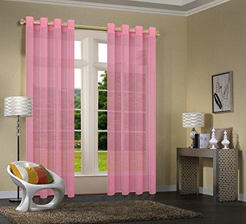 Uni -20332CN- 2er-Pack Rosa Vorhang Transparent Gardinen Set Wohnzimmer Voile Vorhang Ösenvorhang HxB 245x140 cm mit Bleibandabschluß Rosa
