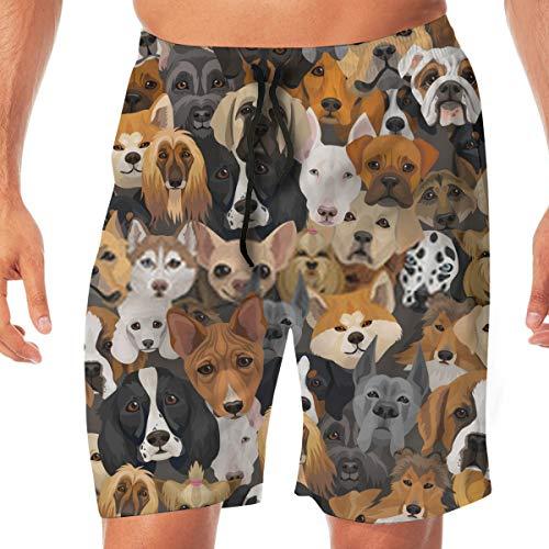 hgdfhfgd Strandshorts Hunde verschiedener Rassen oder Geschenkpapier Jahr des Hundes Ba Schnelltrocknende Strandbadehose für Männer
