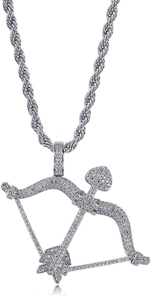 Moca Jewelry Bow & Arrow Pendant Solid Back Necklace Hip Hop Iced Out Bling 18K Gold Plated Chain for Men Women