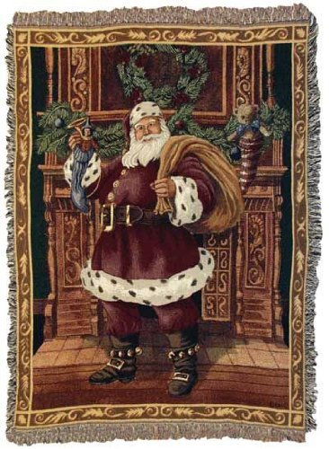 Fireplace Santa Christmas Holiday Tapestry Throw Blanket 50'...