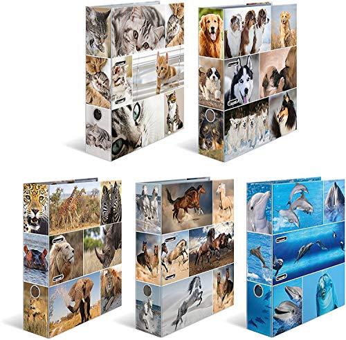 HERMA 7163 Motiv-Ordner DIN A4 Animals 10er Set, 7 cm breit aus stabilem Karton mit Tier-Motiv Innendruck, Ringordner, Aktenordner, Briefordner, 10 Ordner
