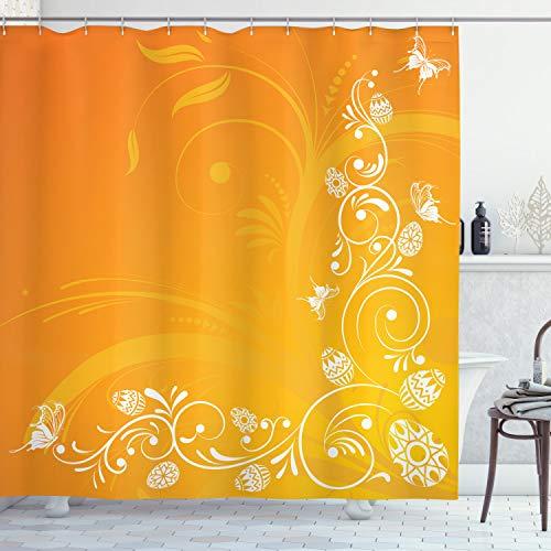ABAKUHAUS Orange Duschvorhang, Ostern Themed Verziert, Waserdichter Stoff mit 12 Haken Set Dekorativer Farbfest Bakterie Resistet, 175 x 200 cm, Orange Gelb-weiß