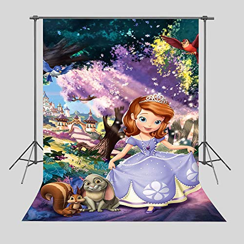 Princess Sofia Backdrop Photography Girl Happy 1st Birthday Party Banner Supplies Vinyl 5x7ft Fairy Tale Castle Photo Background Children Baby Shower Decoration Photo Booth Studio Props