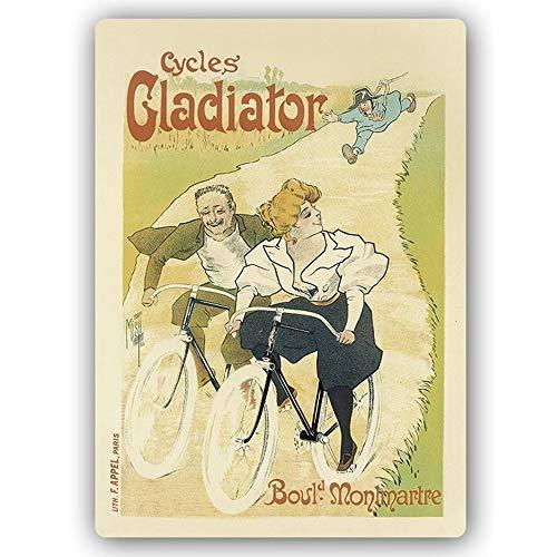 Legendarte Cartel artístico Cycles Gladiator, Impresión sobre Metal cm. 40x60 - Chapas Metálicas Decorativas de Acero Inoxidable