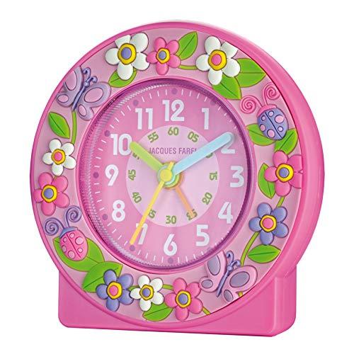 JACQUES FAREL Kinder-Wecker Mädchen 3D Blumen rosa ohne Ticken Analog Quarz ACN 313