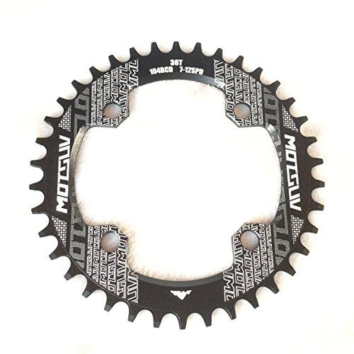 CarbonEnmy Aluminium Fahrrad Kettenblatt Kettenblätter Chainring BCD104mm 32T 34T 36T 38TNeu (Schwarz, 36T)