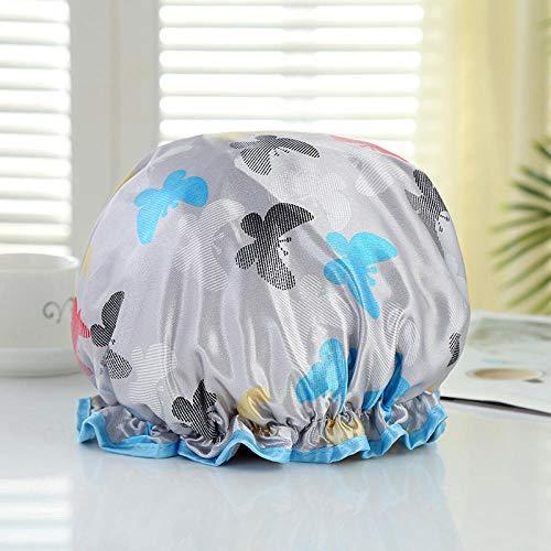 1 bonnet de douche imprimé double couche - Fleur gris papillon_Regular 26cm