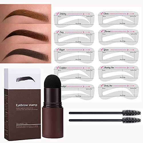 Eyebrow Stamp Stencil Kit One Step Brow Stamp Shaping Kit Waterproof Brow Stamp Long Lasting Eyebrow Stamp With 10 Reusable Eyebrow Stencil, Hairline Shadow Powder Stick (Natural Brown)