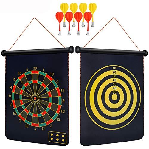 SKMYT Magnetic Dart Board, Powerful Magnet Dart Board, 8 Magnet Darts, 15-Inch Double-Sided Magnet Dart Board, Indoor Outdoor Dart Games Children's Adult Dart Board Game, Party Set Gift Box
