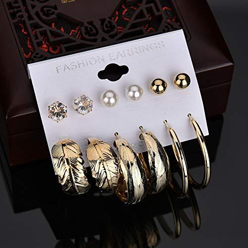 GOHHK 6 Paar Edelstahl Ohr Knorpel Ohrringe für Frauen Mädchen Ohrstecker Ohr Crawler Manschette Ohrring, für Frauen Mädchen (Gold, Silber)