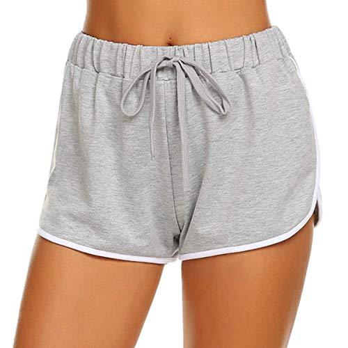 CheChury Pantalones Cortos de Deporte para Mujer Verano Casuales Algodón Cintura Elástica Ajustable Chandal Cortos de Salón con Cordón Pantalones de Playa
