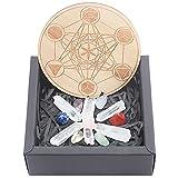 SUNNYCLUE 1 Caja 19 Piezas Cristales Curativos Chakra Piedras Crudas Set 7 Chakra Caído Chips Piedras Preciosas Yoga Tema Kit de Regalo con Placa de Madera Columna de Cristal para Meditación Alivio