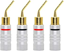 CERRXIAN Gold Plated 2mm Banana Plug Screw Type Audio Speaker Pin Plugs Cable Connector Adapter(4pcs)