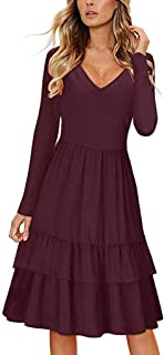 Women's Long Sleeve Round Neck Button Down Swing Midi Dress Pockets Dress