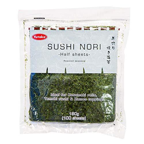 Yutaka Sushi Nori - Hojas de media algas (130 g, 100 hojas)