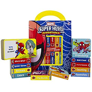 Marvel - Spider-man Super Hero Adventures - My First Library Board Book Block 12-Book Set - First Words Colors Numbers and More! - Includes Characters from Avengers Endgame - PI Kids