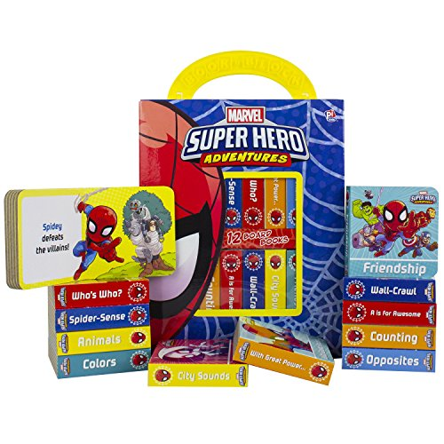Marvel - Spider-man Super Hero Adventures - My First Library Board Book Block 12-Book Set - First Words, Colors, Numbers, and More! - Includes Characters from Avengers Endgame - PI Kids