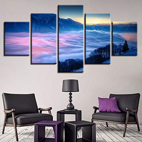 GVC 30X40X60X80 Canvas HD Prints Pictures Home Decor Frame 5 Pieces Mountain Top Of The Cloud Sea Paintings Modular Wall Art Sunrise Mist Poster