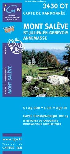 Top25 3430OT ~ Mont Saleve, St~Julien~en~Genevois, Annemasse Wanderkarte mit einem kostenlosen Maßstabslineal