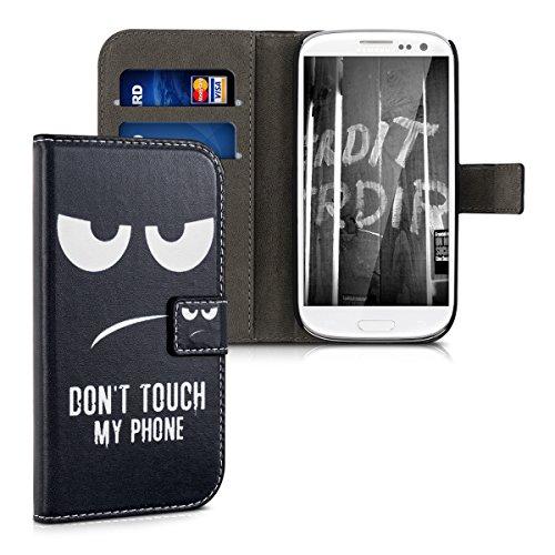 kwmobile Hülle kompatibel mit Samsung Galaxy S3 / S3 Neo - Kunstleder Wallet Case mit Kartenfächern Stand Don't Touch My Phone Weiß Schwarz